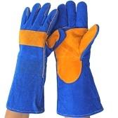 Guanti da saldatura in pelle forgiati Guanti resistenti al calore blu
