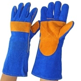 Leather Forge Welding Gloves Blue Practical Heat Resistant Gloves