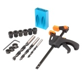 15pcs Pocket Hole Jig Kit  8mm 10mm 15 Degree Angle Drill Guide Woodwoorking Tool Inclined Hole Jig Hole Puncher Locator Jig Drill Bit Carpentry Tools