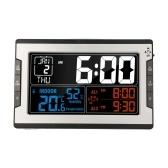 KKmoon Цифровые многофункциональные часы с температурой и влажностью в помещении Термогигрометр, термометр и гигрометр Большой цветной дисплей с подсветкой, с вечным календарем, будильником и функцией повтора