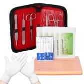 Комплект для обучения наложению швов для хирургии Силиконовые хирургические инструменты Комплект для обучения наложению швов на кожу Медицинская модель Хирургические инструменты для студентов-дерматологов