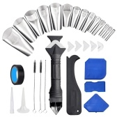 KKmoon 31 PCS Caulking Nozzle Applicator Finishing Tool with Nozzles and Tape Caulk Remover Tool Kit 3 in 1 Metal Scraper with 6 Silicone Pads Grout Angle Scrapers for Kitchen Bathroom Door Window Sink Tile