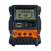 30A Solar Charge Controller Solar Panel Battery Regulator with Dual 5V USB Port 12V/24V PWM Auto Parameter Adjustable LCD Display