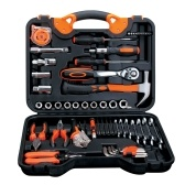 55-Piece Tool Set General Household Hand Tool Kit with Plastic Toolbox Wrench Sockets Screwdrivers Pliers for Home Repair Mechanic Maintainence DIY Projects