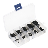 200pcs Black Allen Head Socket Internal Hex Set Grub Screw Assortment Cup Point Screws Kit for Home Use