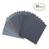 LANHU 400 à 3000 assortiment de papier abrasif sec / humide de papier abrasif pour la finition de meubles en bois de ponçage et polissage automobile 9 * 11 pouces 18 feuilles
