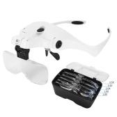 5 Objektiv 1.0X-3.5X Verstellbare Halterung Stirnband Brille Lupe Lupe mit 2 LED-Leuchten und USB-Ladebrille Vergrößerungswerkzeug Wiederaufladbare LED-Lupen