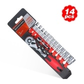 "14-Piece 1/4"" Ratcheting Socket Wrench Set Quick Release Reversible Ratchet Handle Swappable Spanners 2-Inch Extension Bar with Hanging Rack"