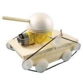 Kit di costruzione del serbatoio in legno 3D Assemblare auto in legno Fai da te a quattro ruote modello di auto Set di materiali Insegnamento creativo Scienze educative Esperimento Giocattolo Regalo per Ragazzi Ragazze Bambini Bambini e adulti