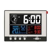 KKmoon Цифровые многофункциональные часы Термогигрометр для помещений Термометр и гигрометр Большой цветной дисплей с подсветкой, с вечным календарем, будильником и функцией повтора сигнала