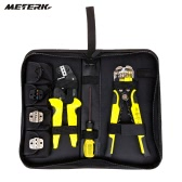 Meterk Professional 4 em 1 fio Crimpers Engenharia Ratcheting Terminal de friso Alicates Bootlace Virola Crimper Ferramenta terminais do cabo End com arame Stripper