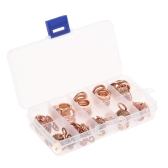 200PCS M5-M14 Copper Washers Gasket Set Flat Ring Seal Assortment Kit with Box 9 Sizes for Hardware Accessories