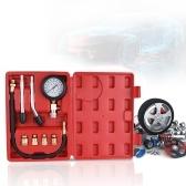 Gasoline Engine Compression Tester Auto Petrol Gas Engine Cylinder Automobile Pressure Gauge Tester Automotive Test Kit 0-300psi with Case