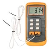 Termómetro digital LCD de mano Sensor de termopar de 2 canales tipo K -50 ~ 1300 ° C / -58 ~ 2372 ° F Función de retención de datos