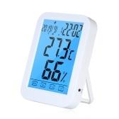 Touch screen multifunzione Retroilluminazione Termometro digitale interno Igrometro Sveglia ° C / ° F Temperatura Umidità Ora Data Display Termometro-Igrometro