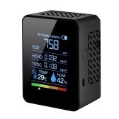 Многофункциональный 5in1 CO2 метр цифровой измеритель температуры и влажности углекислый газ TVOC HCHO детектор монитор качества воздуха