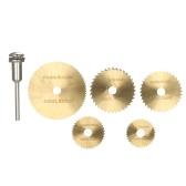 "6pcs HSS Circular Saw Blades Rotary Cutting Tools Kit Conjunto com 1/8 ""Shank para cortar madeira e plástico"