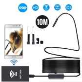 Wireless Endoscope IP68 Waterproof WiFi Borescope Inspection 2.0MP HD 8 LED 8mm Semi-Rigid Snake Camera for iPhones iPads Android Devices and PC 10M