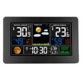 3-in-1-Wetterstationsuhr Wandmontierte Digitaluhr Thermometer Hygrometer Barometer Indoor Outdoor Farbbildschirmuhr