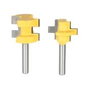 """2PCS Mini 1/4 """"Shank Tongue & Groove Router Bit Set 3 Dentes T-shape Fresador De Cinzelador De Madeira Para Ferramenta De Madeira"""