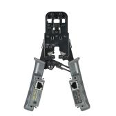 Multi-funcional LED Desmontable Herramienta de crimpado Cable Cutter Stripper RJ11 RJ12 RJ45 Probador de alambre