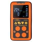 SMART SENSOR Detector de gas 4 en 1 Monitor H₂S y CO Detector de gas industrial digital portátil con pantalla LCD Alarma de vibración de sonido y luz 100-240V