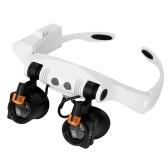 Warmes und kaltes LED-Licht Lampe Doppel-Brillen Lupe Juwelier Uhr Reparatur Messung Top-Mounted Lupe
