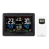 ワイヤレス天気予報駅時計RF送信機付き屋内屋外カラースクリーン時計デジタル温度および湿度検出