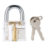 Large Transparent Practice Padlock Locksmith Pick Lock Training Tool with Keys