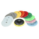 "11pcs 4"" Diamond Wet Polishing Pads Grinding Disc + 1pc Backing Pad for Granite Marble Stone Ceramic Tile Concrete"