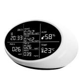 Портативный цифровой детектор PM2.5 Многофункциональный гигротермограф PM1.0 / PM10 HCHO TVOC Тестер Монитор качества воздуха Анализатор воздуха
