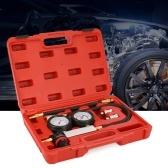 自動シリンダーリークテスター圧縮漏れ検出器キットセットガソリンエンジンゲージツールキットダブルゲージシステムケース付き
