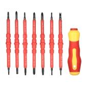 7 in 1 cacciaviti isolanti variabili da 1000V impostati con bobine magnetiche e bit fessurati Kit attrezzi per riparazione elettricista