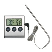 BBQ Grill Thermometer Food Thermometer 0~250°C Food Cooking Thermometer with Alarm Timer Function LCD Digital Food Temperature Gauge for Kitchen BBQ Steak Barbecue