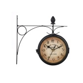 Vintage Double Sided Wall-mounted Clock Metal Mount Home Garden Coffee Bar Decoration