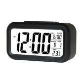 Smart Digital Alarm Clock with Date and Temperature Snooze Button on Top Battery Operated Rectangle Desk Clock with Night Light for Bedroom Kids Children Girls Boys