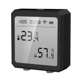 Tuya WiFi BT Temperatur-Feuchtigkeits-Detektor LCD-Display-Sensoren Alarmfunktion für hohe Niedrigtemperatur-Feuchtigkeit Intelligenter Home-Innenraum-Detektor Echtzeit-Überwachung Datum Zeitanzeige Temperatur-Feuchte-Diagramm ℃ /℉-Konvertierung Kompatibel mit Alexa Google Home