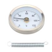 0-120 ° Bimetal acero inoxidable superficie de tubo medidor de temperatura con clip de termómetro con resorte