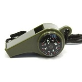 Hiking 3 in1 Outdoor Camping Emergency Survival Gear Whistle Compass Thermometer
