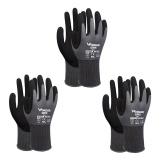3-Paar Nitril-imprägnierte Arbeitshandschuhe Sicherheitshandschuhe für die Gartenarbeit Wartungslager für Herren und Damen (Schwarz Grau S)