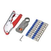 Utensile di compressione coassiale Kit di utensili per la stiratura del filo con 20 pin di spelatura del filo del connettore F