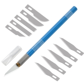 Aluminiowy uchwyt Precision Craft Hobby Nóż Cutter Handle with 10 sztuk Ostrza zapasowe do uniwersalnego naprawy DIY PCB Phone Art Wood Art Praca Cięcie Carving Tools Blue