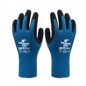 Luvas de trabalho impregnadas de nitrilo de 1 par Luvas de segurança para depósito de manutenção de jardinagem para homens e mulheres (azul S)