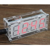 4-stellige DIY LED elektronische Uhr Microcontroller 0,8 Zoll Digital Tube Clock mit Thermometer Hourly Chime Funktion DIY Kit-Module