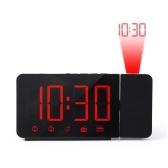 Проекционный будильник Проектор на 180 ° с функцией повтора FM-радио 4 диммера Двойной будильник Зарядка через USB Цифровые часы 12/24 часа для спальни