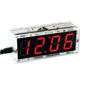 Caso transparente compacta de 4 dígitos LED Talking Clock DIY Kit de Control de Temperatura Digital Light Fecha Hora Display