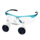 Wearable Magnifier Portable 3.5X 420mm Surgical Medical Binocular Loupes Optical Glass Headset Magnifying Glasses +3W LED Headlight