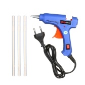 20W Hot Melt Glue Gun Hot Melt Glue Machine DIY Glue Gun with Switch Button Blue + 3Pcs 7mm Hot Melt Glue Bar