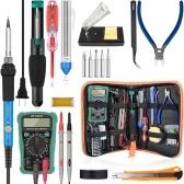 60W Digital 200-450℃ Temperature Adjustable Soldering Iron Kit Electric Multimeter Desoldering Pump Professional Welding Tool Simple Set