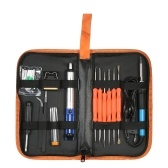 18 unids / set kit de herramientas de soldadura 60 vatios 220 v enchufe de la UE temperatura ajustable soldador hierro desoldadura bomba de hierro soporte de soldadura consejos con bolsa de almacenamiento